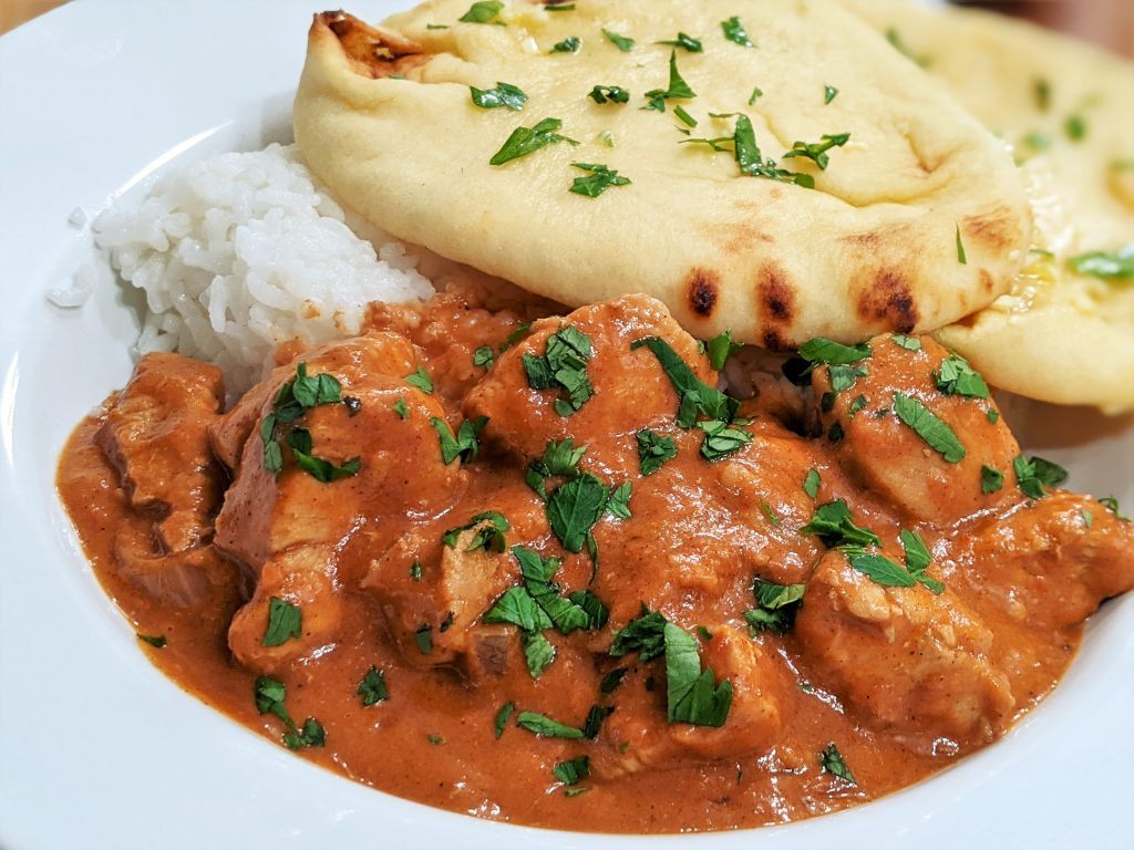 Butter Chicken with Garlic Naan and Rice
